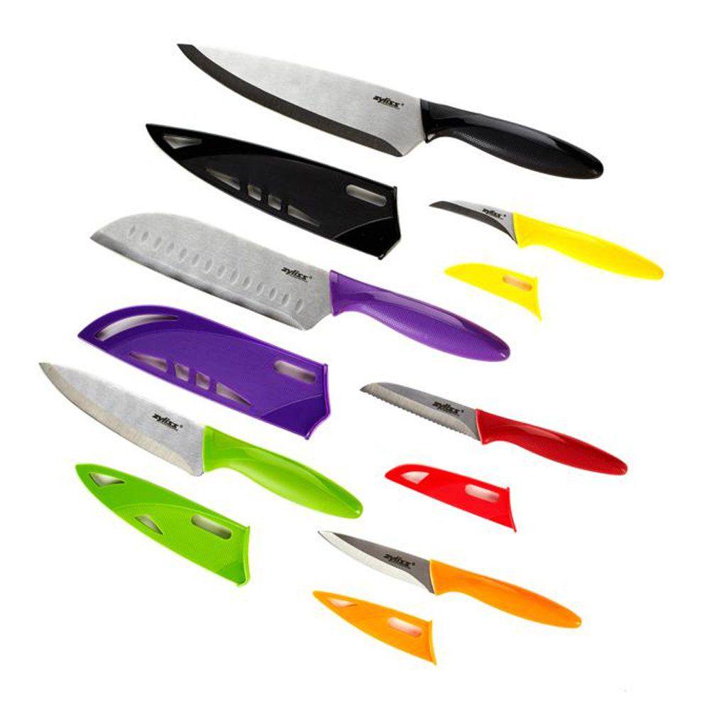 Conjunto de 6 Facas em Aço Inox Com Capa Colorida Zyliss