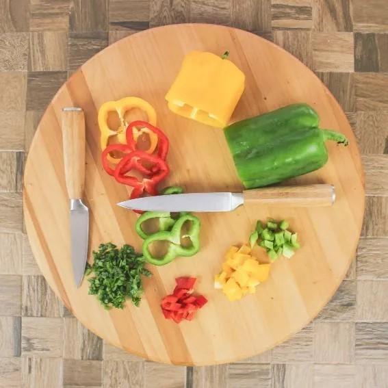Conjunto 5 Facas de Cozinha LIVORNO com Cabo e Suporte em Bambu