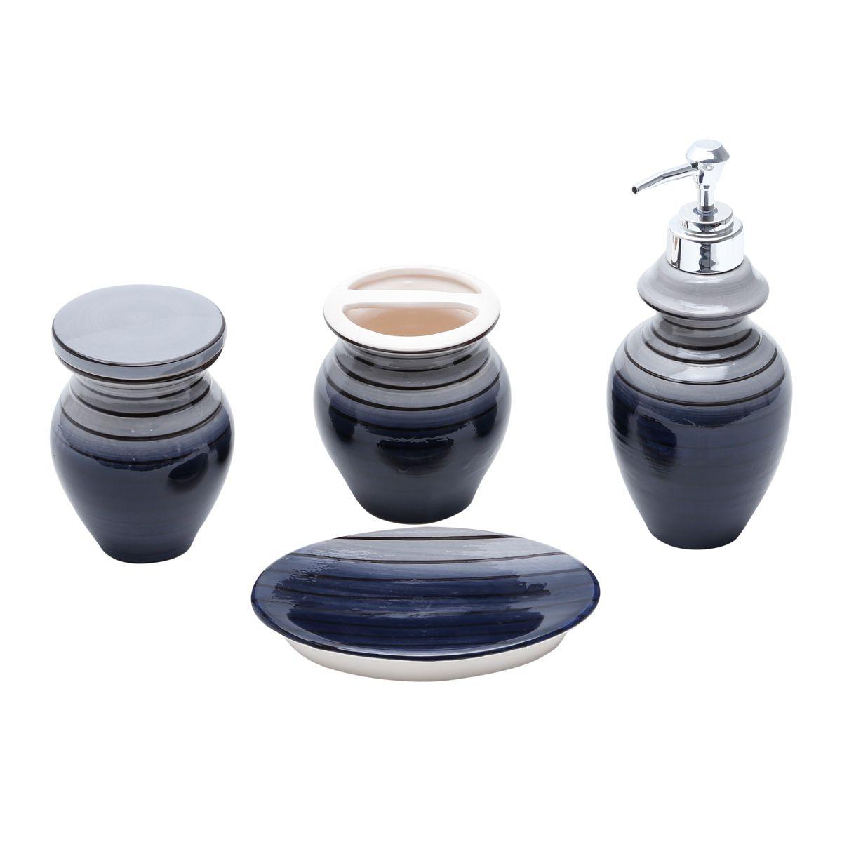 Kit Banheiro 4 pcs em Cerâmica Vertigo Cinza E Preto