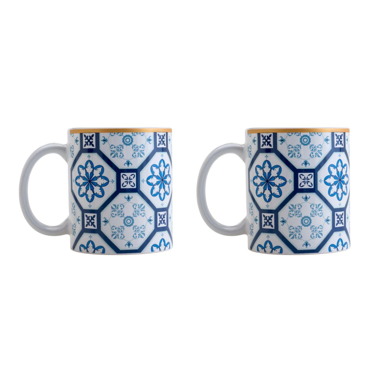 Conjuntos de 2 Canecas De Porcelana Braga Azul E Branca 330ml