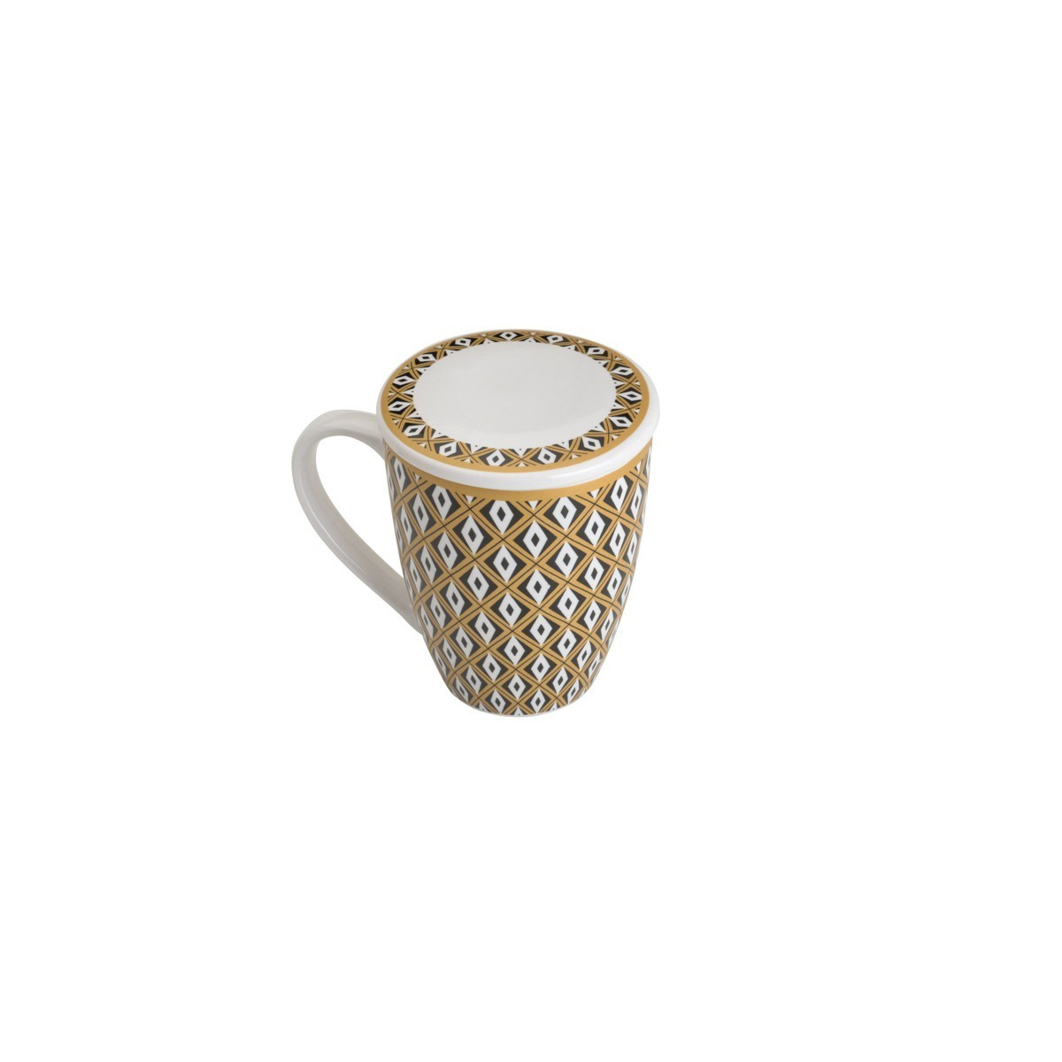Conjuntos de 2 Canecas de Porcelana com Tampa e Filtro para Chá 310ml