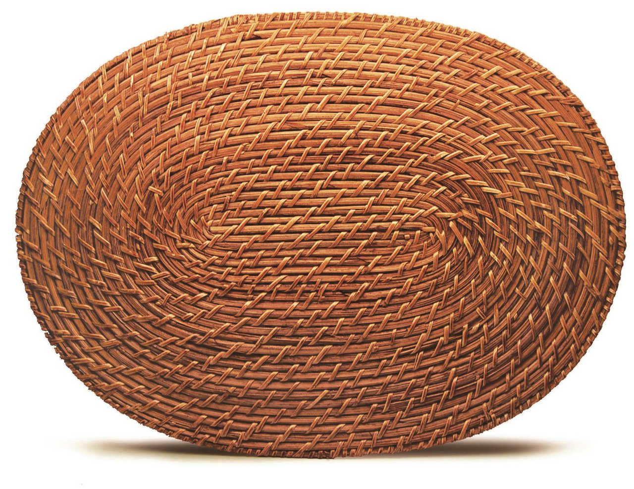 Descanso de travessa Rattan Oval 45x32cm - Tyft Organic