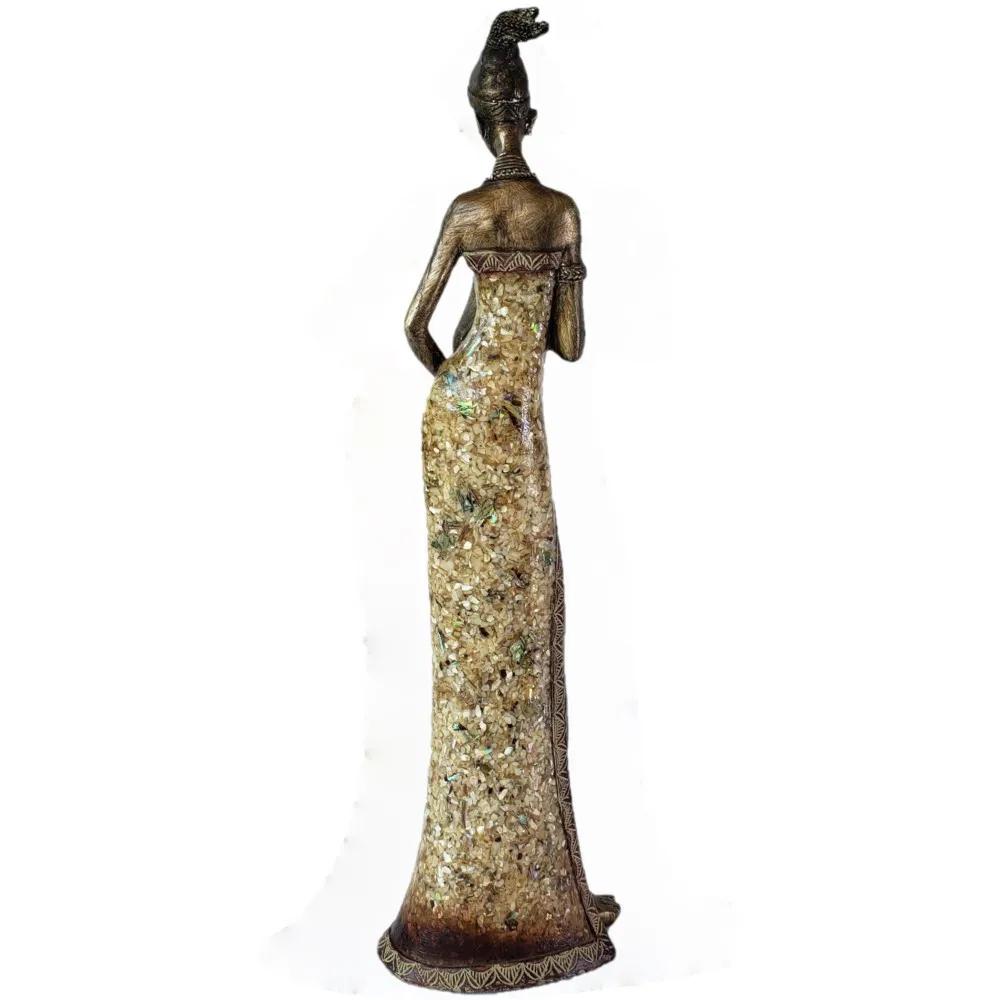 Escultura Africana Feminina com Jarro em Resina  12x9,5x44cm