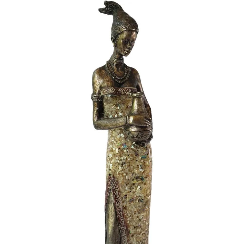 Estatua Africana Feminina com Jarro em Resina  12x9,5x44cm