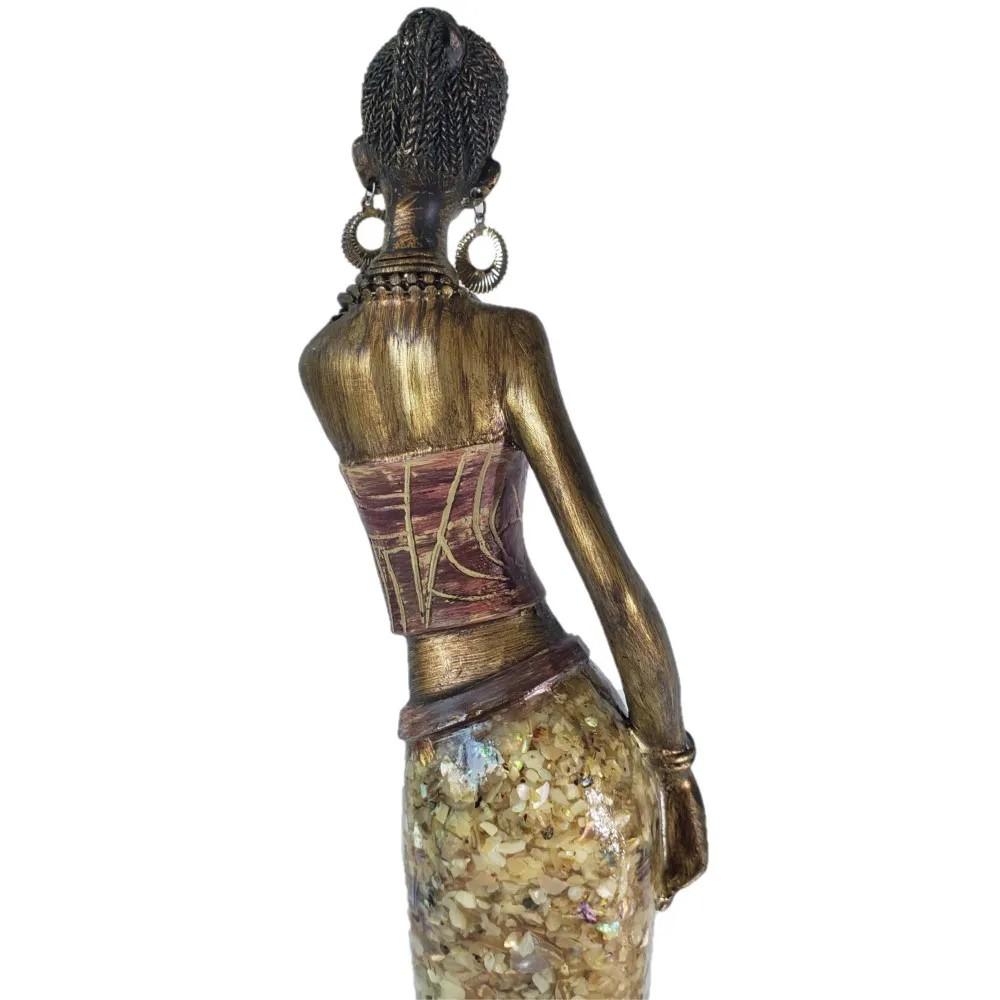 Estatua Africana Feminina em Resina 10,5x8x41cm