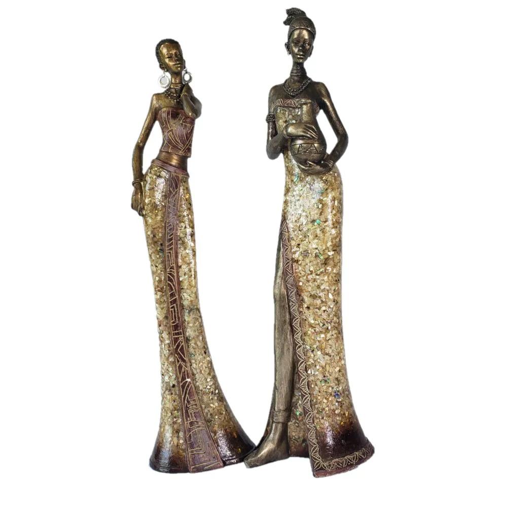 Escultura Africana Feminina em Resina 10,5x8x41cm