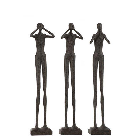 Estatua Cego Surdo Mudo Preta 61cm 3 pcs