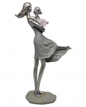 Estatua Mae e Bebe de Resina  20x8x31cm