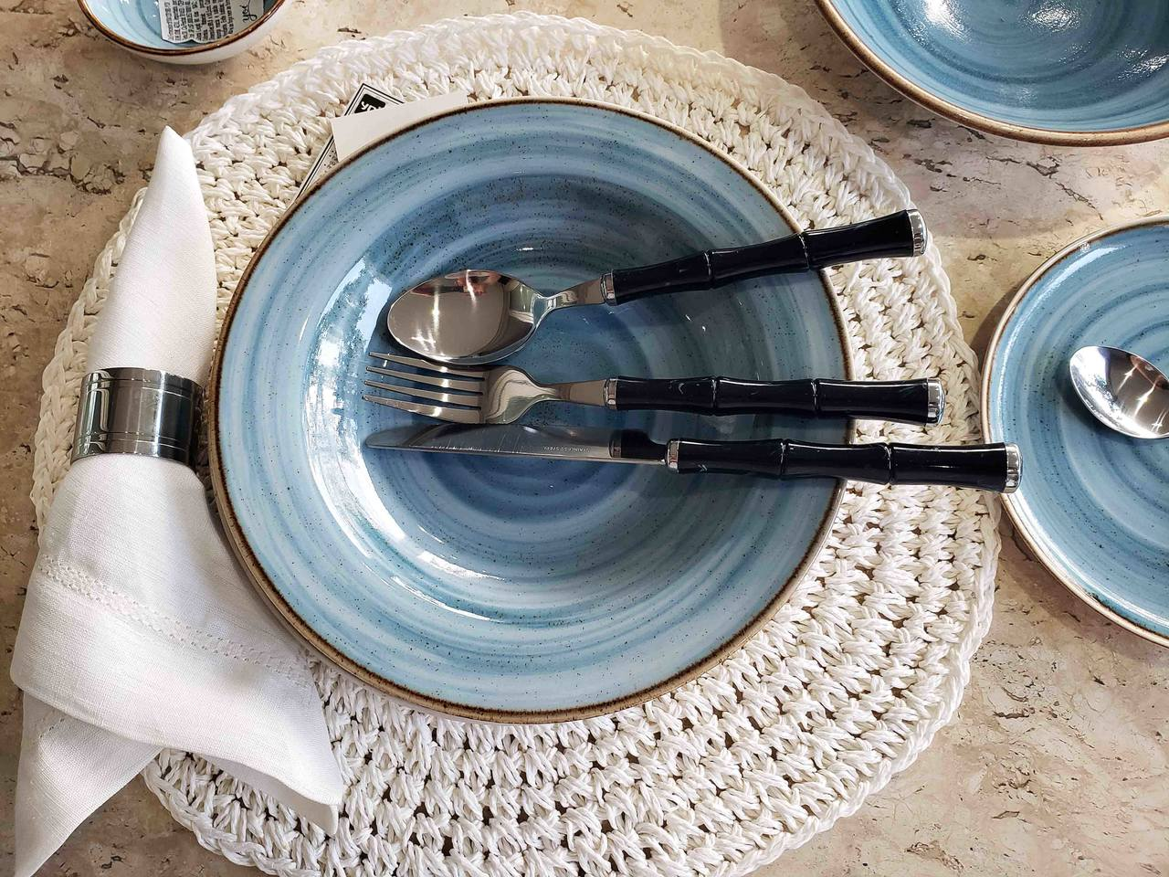 Faqueiro Azul Conjunto 24 Peças Kenya Marble