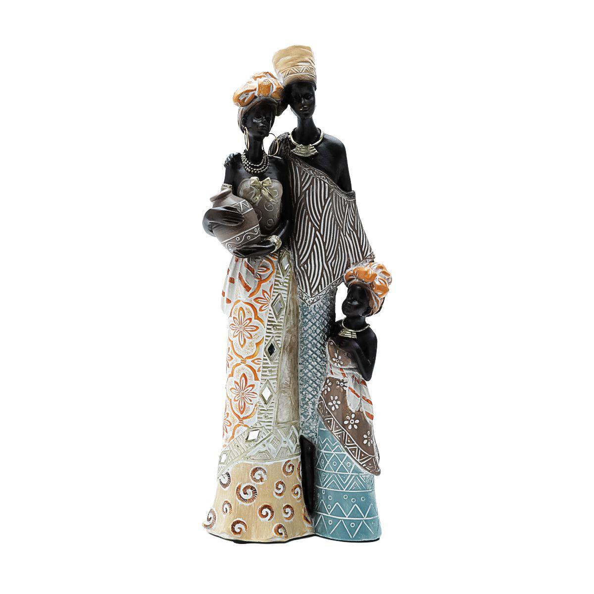 Estatua Decorativa  Africana  12x8x31cm