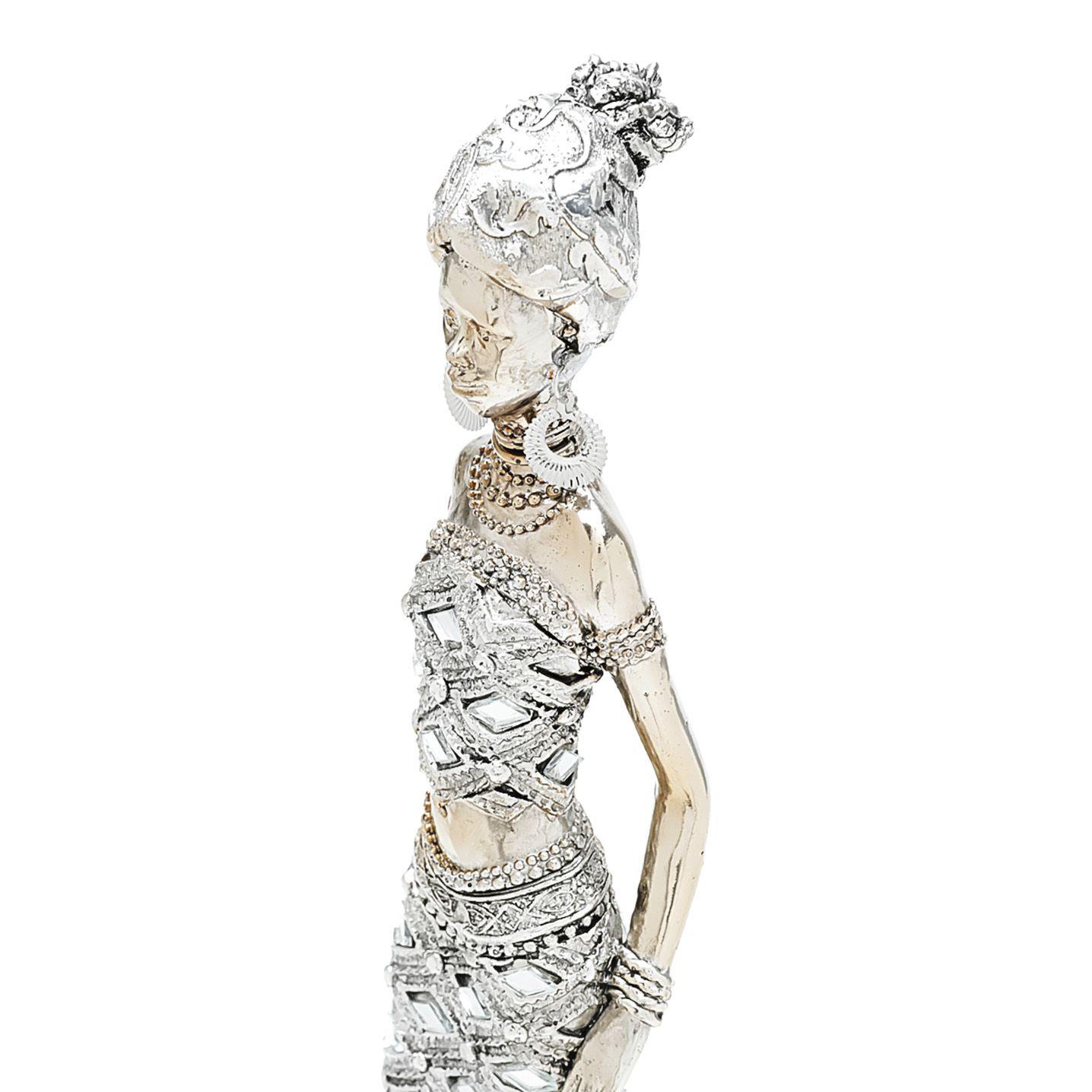 Figura Decorativa Resina Africana 8x7x34cm