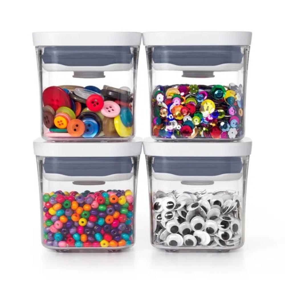 Jogo 04 Potes Quadrados de 200mL POP 2.0 - OXO