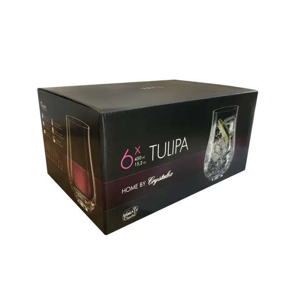 Jogo 06 Copos Longos em Cristal 450mL Tulipa - Bohemia
