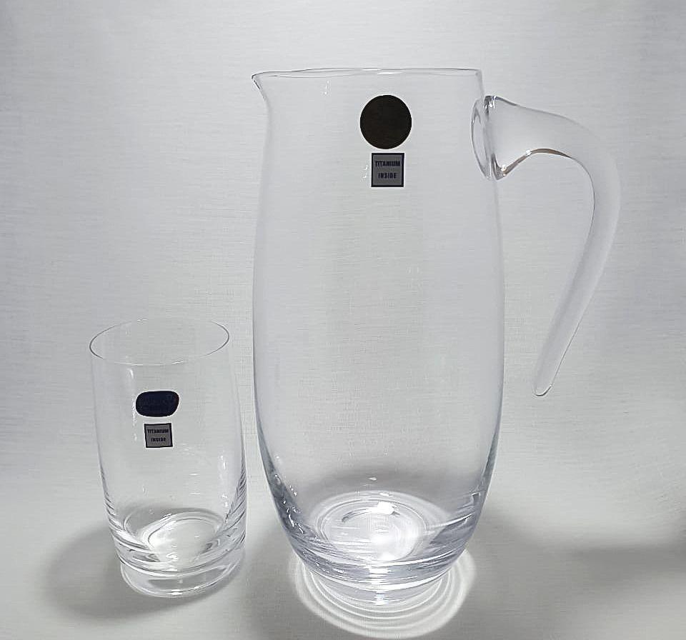 Jogo 6 Copos 380ml com Jarra 1500 Ml Cristal Bohemia Titanium Inside- Ideal