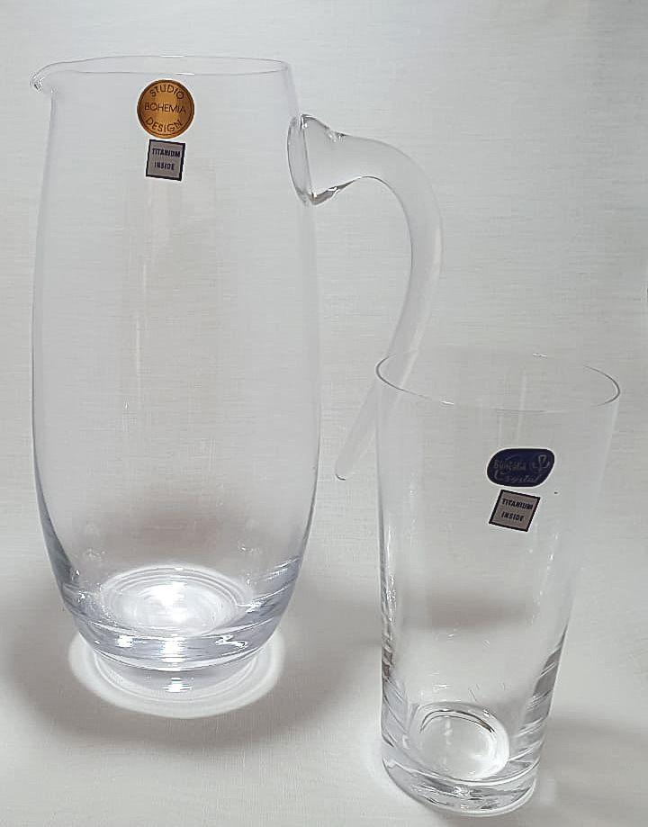 Jogo 6 Copos 400 Ml com Jarra 1500Ml Cristal Bohemia Titanium Inside- Jive
