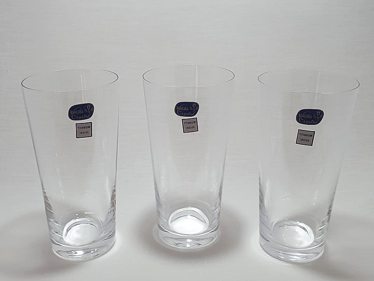 Jogo 6 Copos Cristal Bohemia Titanium Inside para Água Ou Suco Longo 400ml- Jive