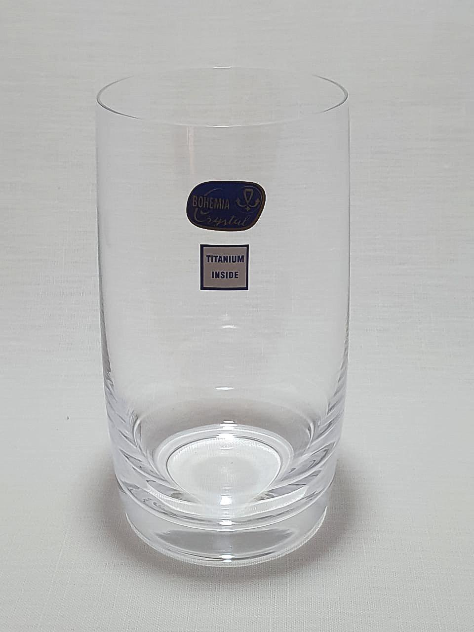 Jogo 6 Copos para Whisky Longo Cristal Bohemia Titanium Inside 380ml- Ideal