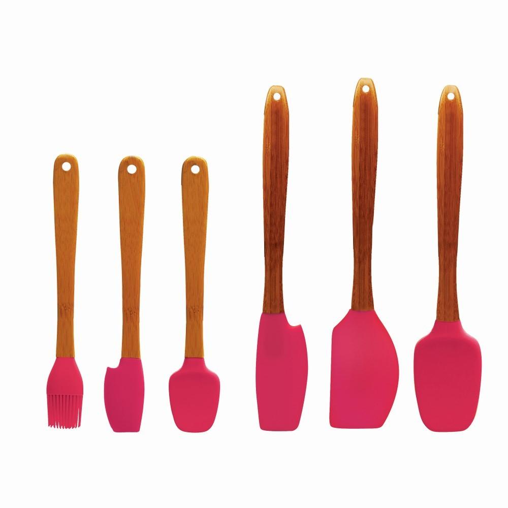 Jogo 6 Espátulas de silicone com cabo em Bambu Tyft - Finecasa