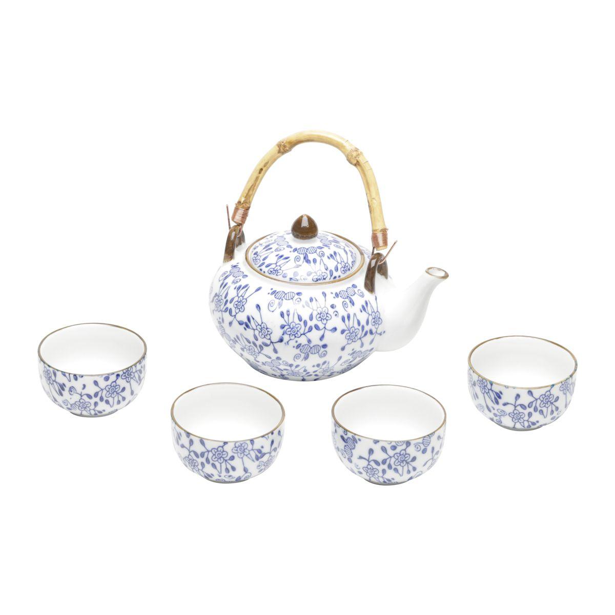 Jogo de Chá 5 peças de Porcelana Munique Azul