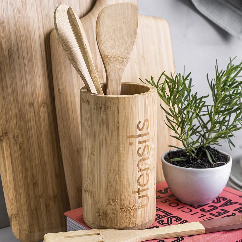 Jogo de Dipenser de Detergente com Porta Utensilios de Bambu