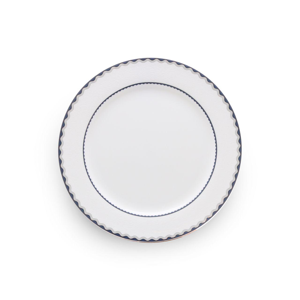 Jogo de Jantar 42pc Porcelana Bone Blue Silver Alto Relevo