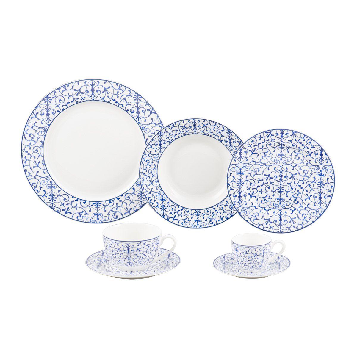 Jogo de Jantar 42pc Porcelana Super White Abstract