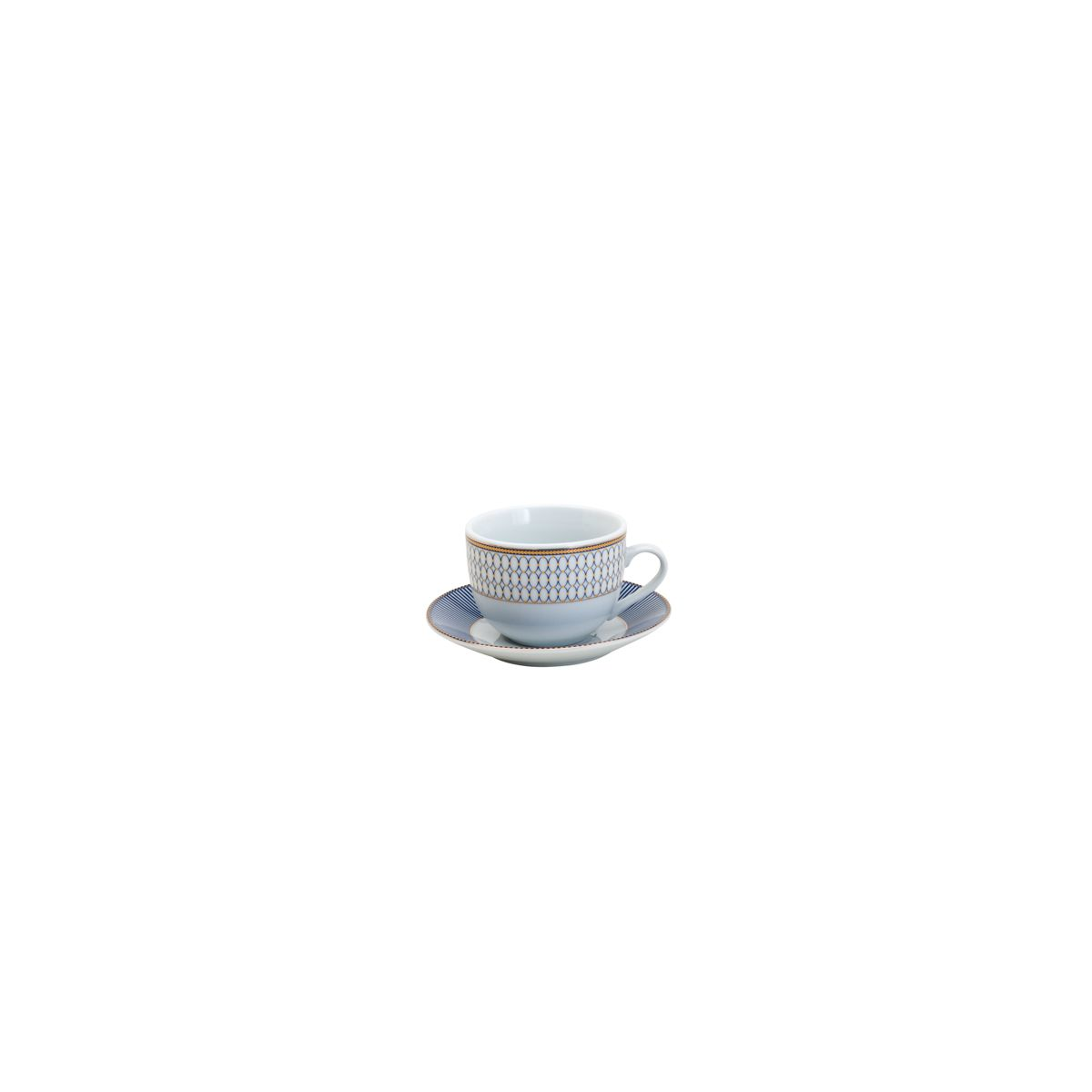 Jogo de Jantar 42pc Porcelana Super White Geométrico Azul