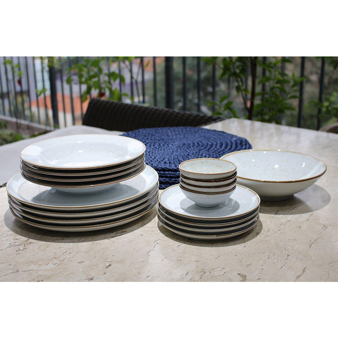 Jogo de Jantar de Porcelana Artisan com Jogo Americano-21 peças