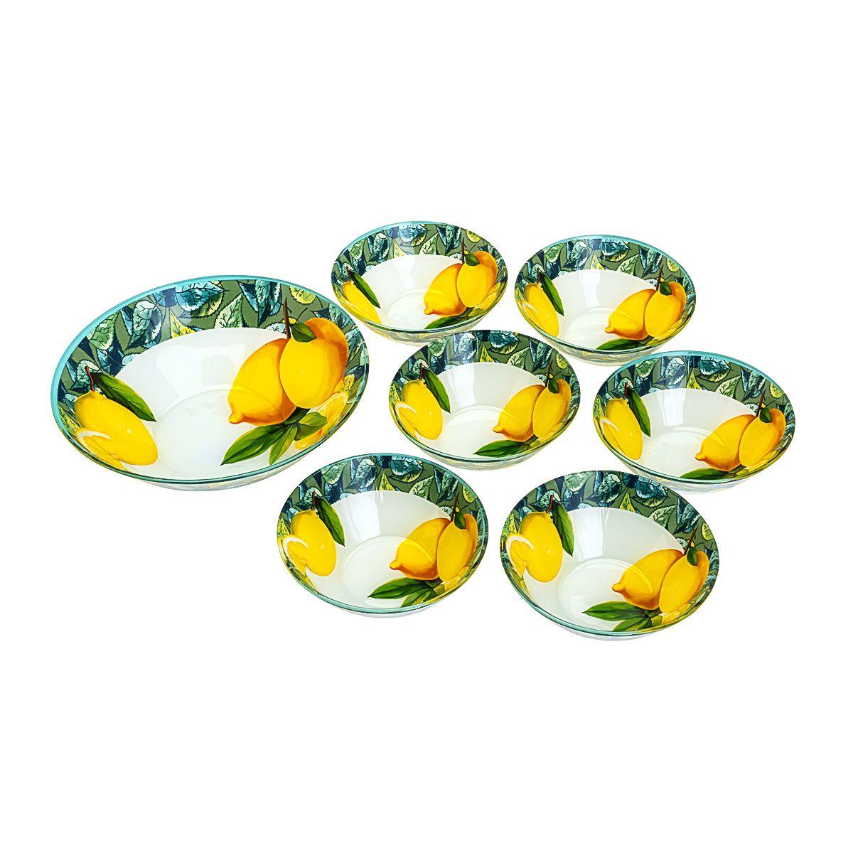 Jogo de Sobremesa em vidro Lemons Amarelo - 7 Pc