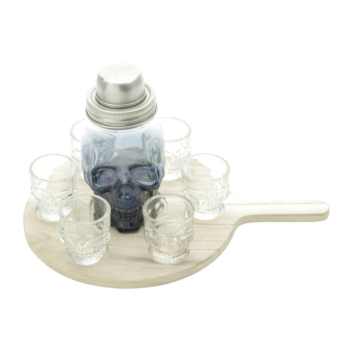 Kit 8 Peças - 6 Copos Dose, 1 Coqueteleira e 1 Tabua Madeira Skull Cinza/Transparente
