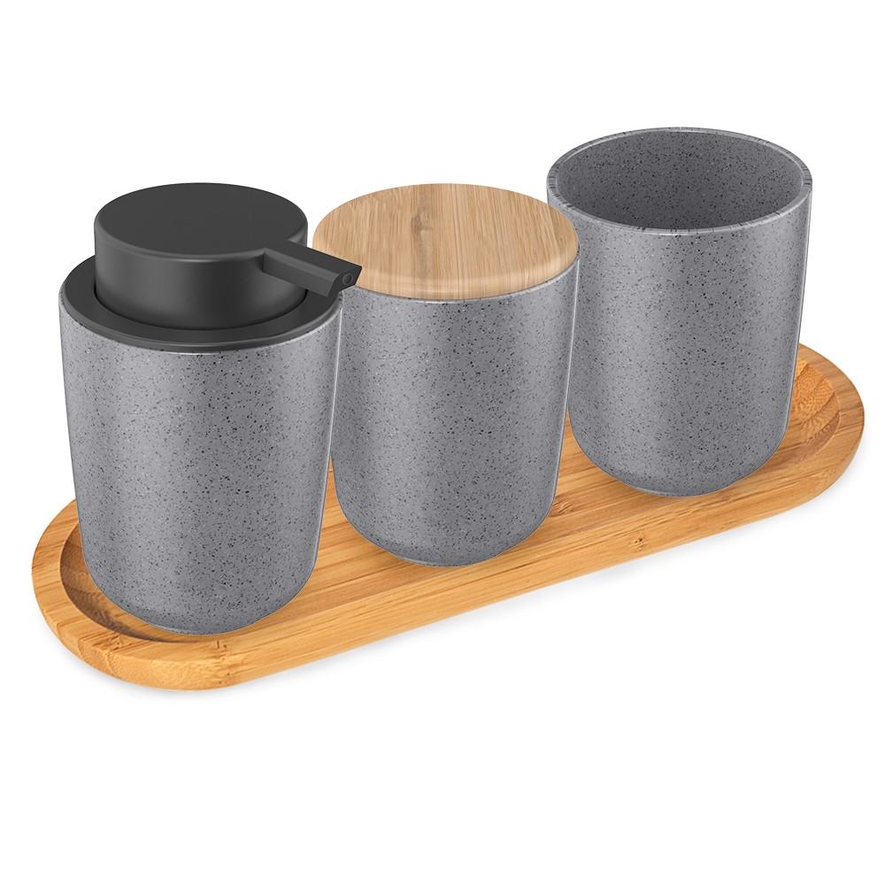 Kit para Banheiro Osaka em Cerâmica - 03 pçs com bandeja