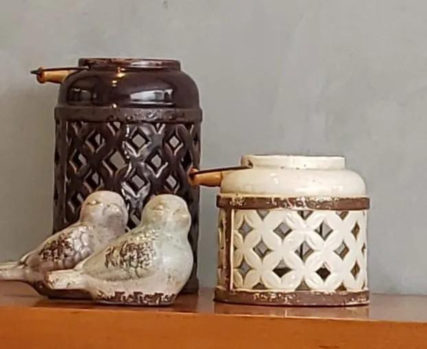 Pássaro Ornamental de Cerâmica 10x9x17cm