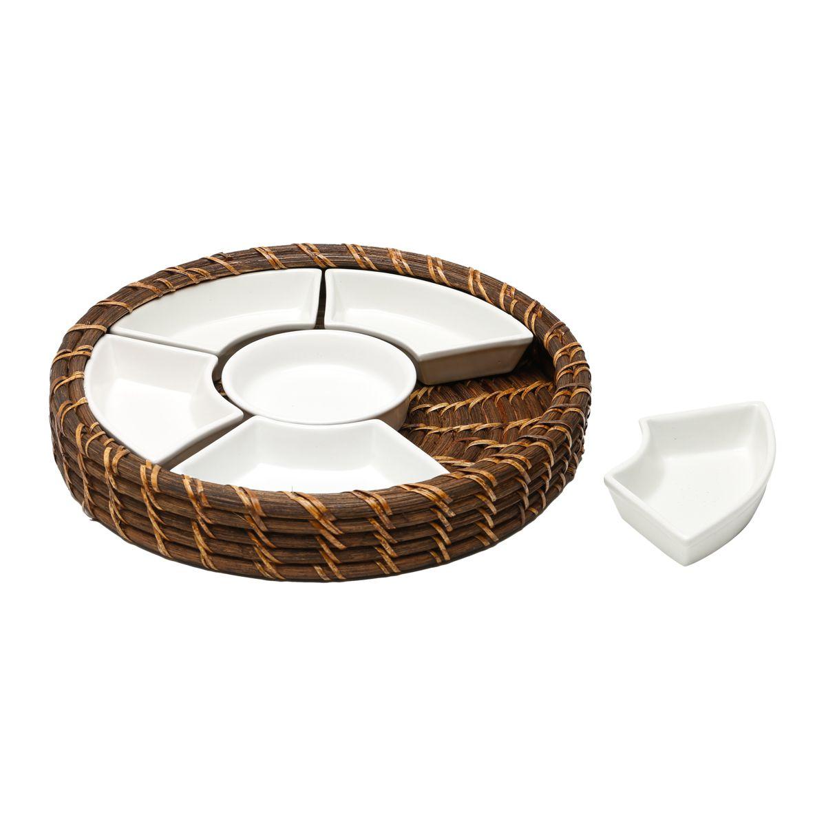 Petisqueira de Rattan Com Divisória De Cerâmica