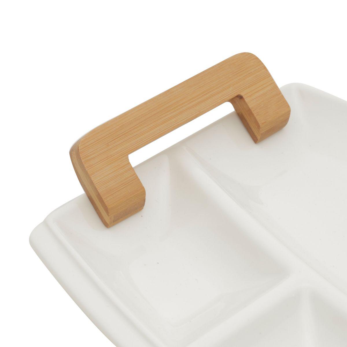 Petisqueira de Porcelana com Alça de Madeira Branco 37 X 22,3 X5cm