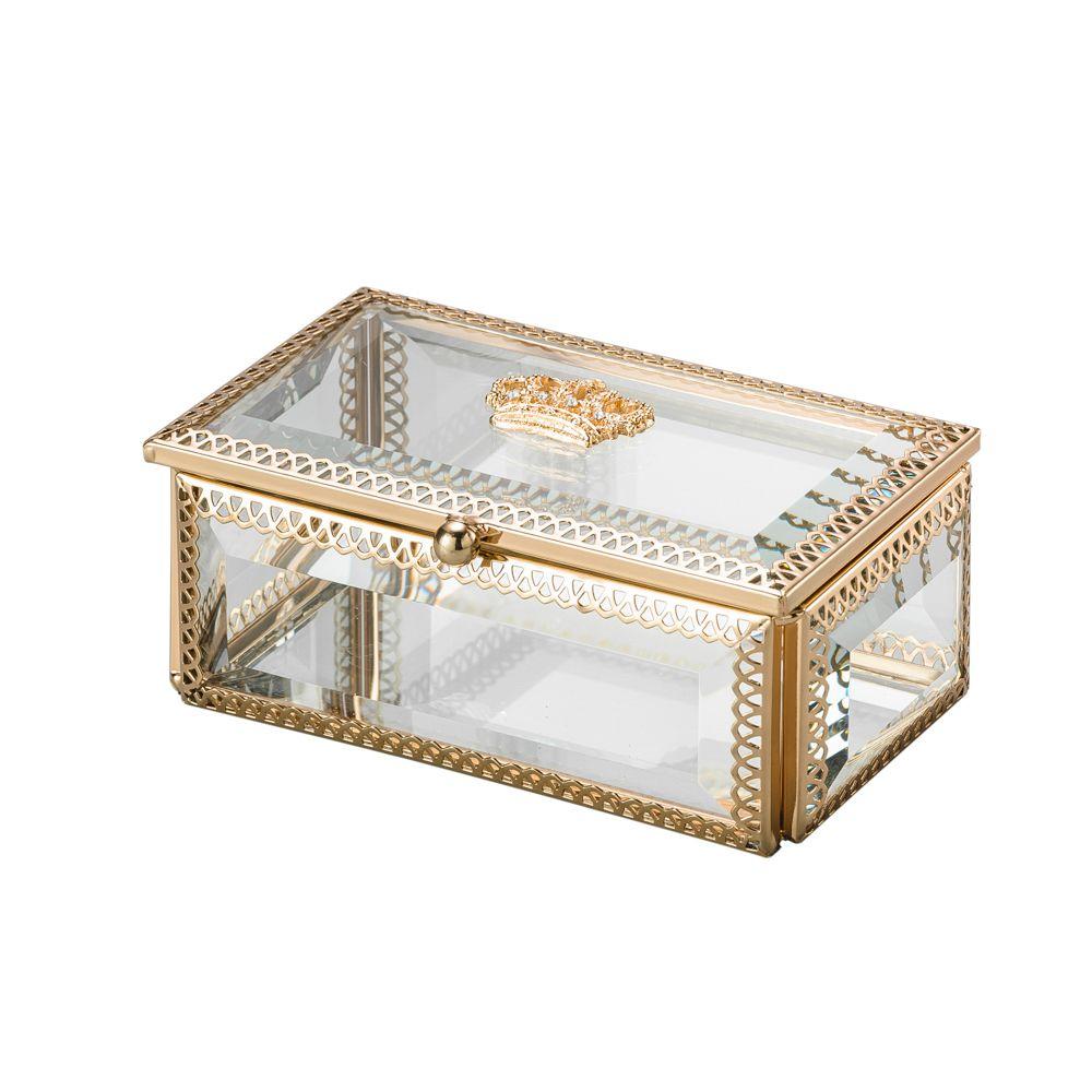 Porta Joias De Vidro E Zamac Crown Dourado 12,5x7,5x5,5cm