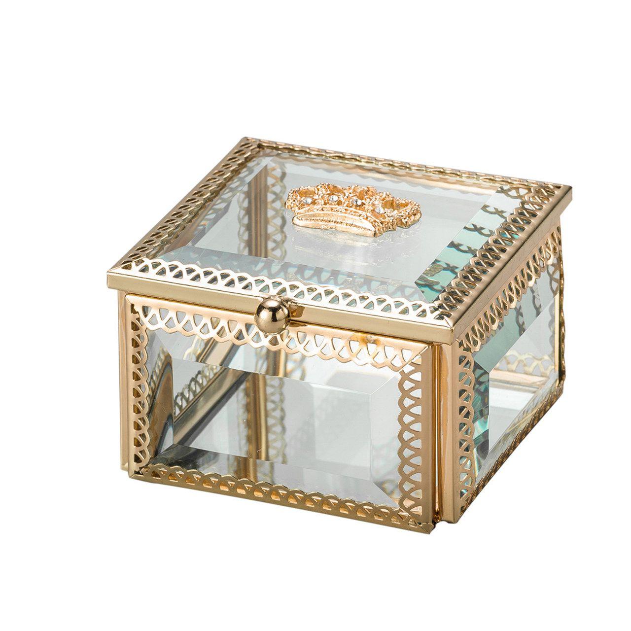 Porta Joias de Vidro e Zamac Crown Dourado 8x8x5cm