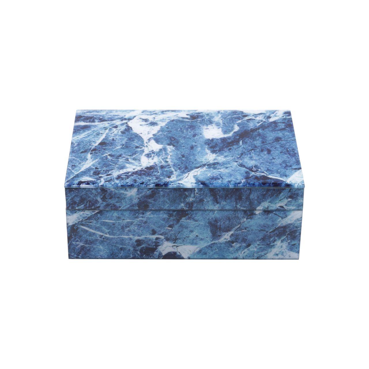 Porta Joias de Vidro Mármore 24,5x17,5x9cm