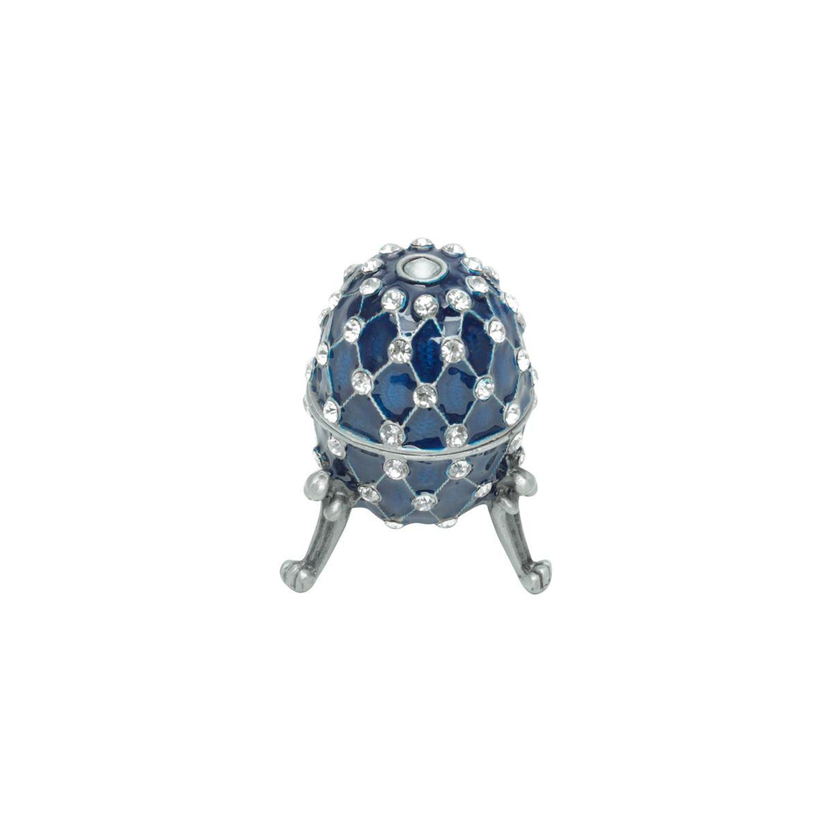 Porta Joias Zamac Faberge Azul 5x6cm
