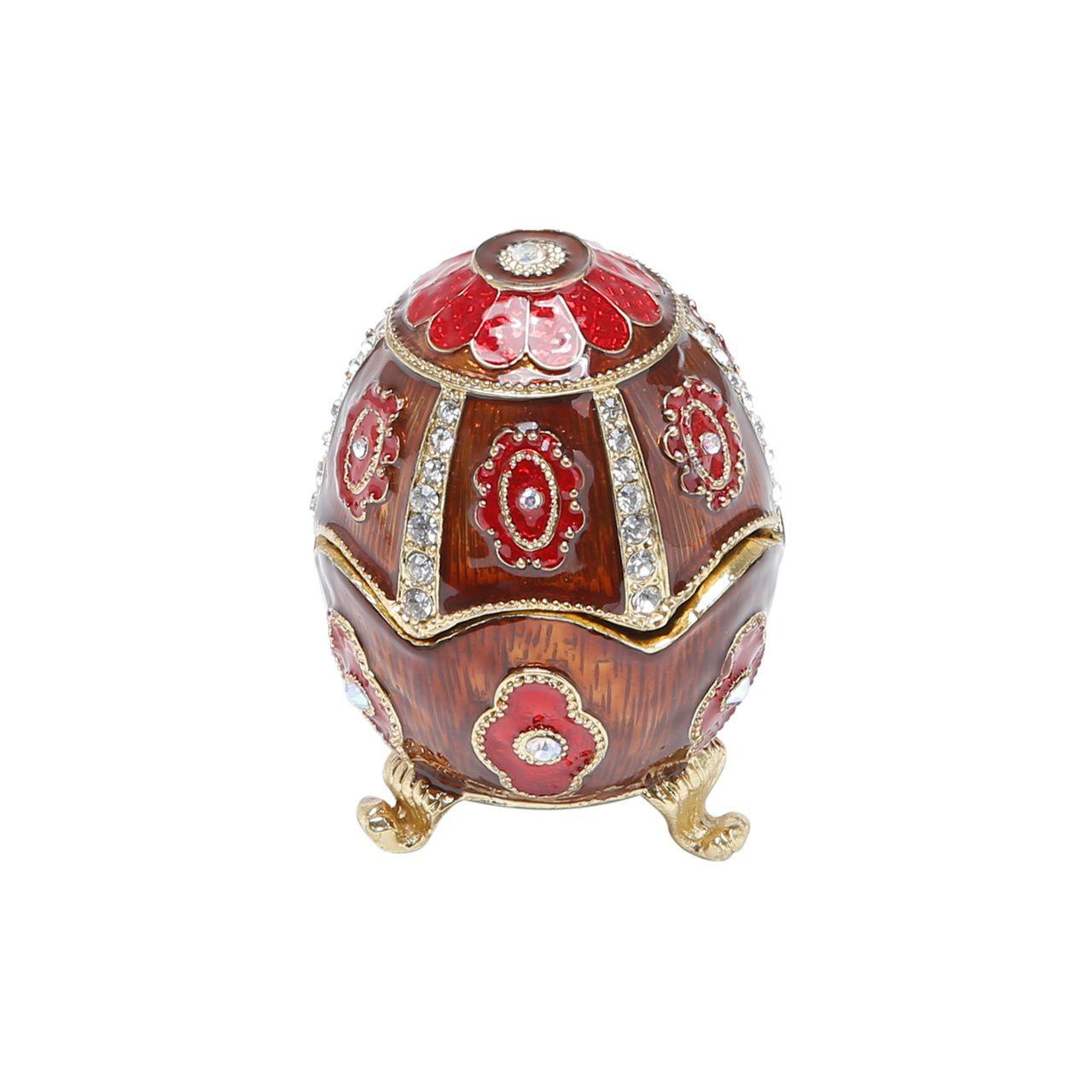 Porta Joias Zamac Faberge Vermelho 6x6x8cm
