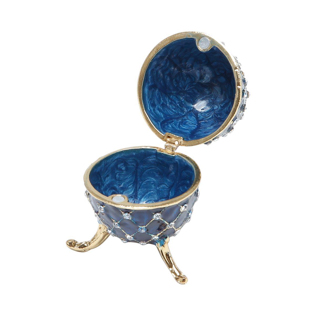 Porta Joias Zamac Oval Faberge Azul 10x6x6cm