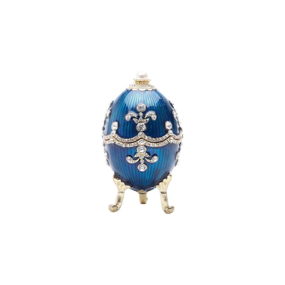 Porta Joias Zamac Ovo Faberge Royal Azul 5x5x9cm