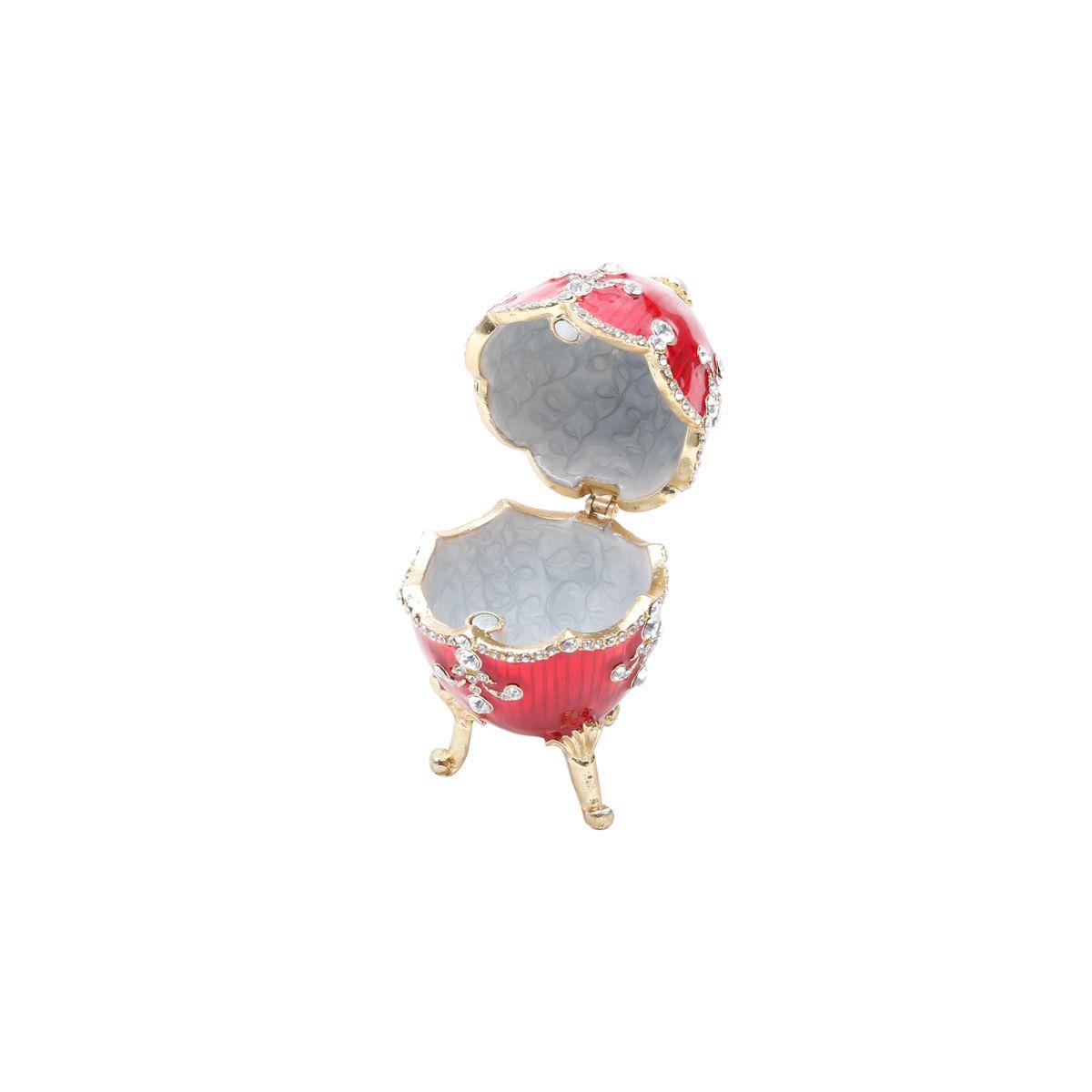 Porta Joias Zamac Ovo Faberge Royal Vermelho 5x5x9cm