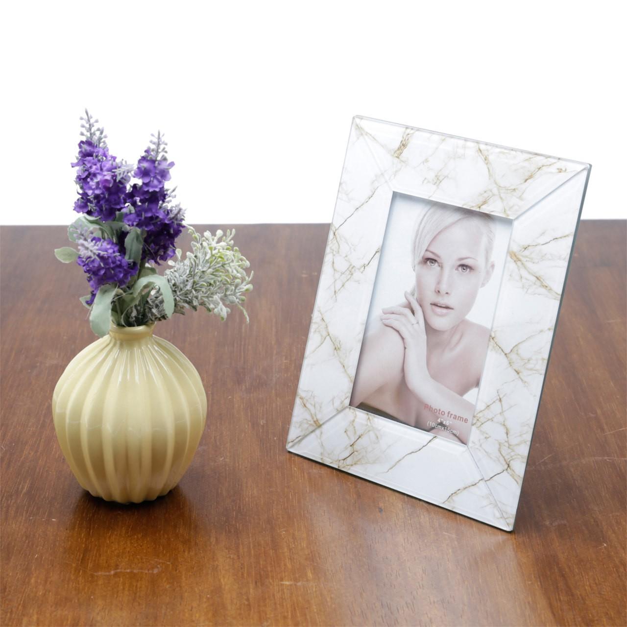 Porta Retrato de Vidro Mármore Marrom E Branco 10x15cm