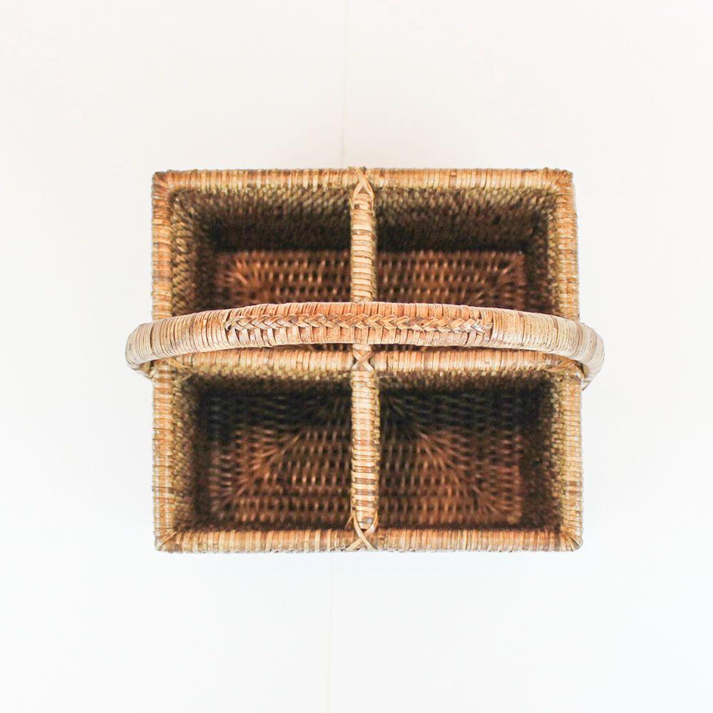 Porta Talheres com alça em rattan GILI 20x18cm