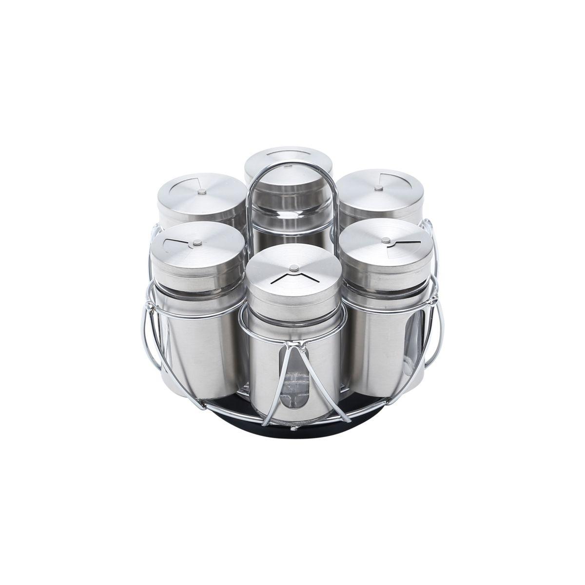 Porta Tempero Com Suporte Giratório Pointer de Aço Inox e Vidro - 7 Peças 7,5X15cm