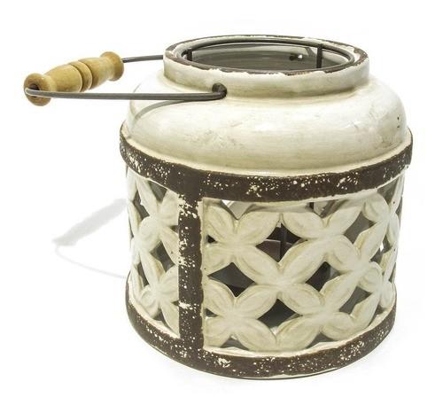 Porta Velas de Cerâmica Vazada Branca 15x15,5cm