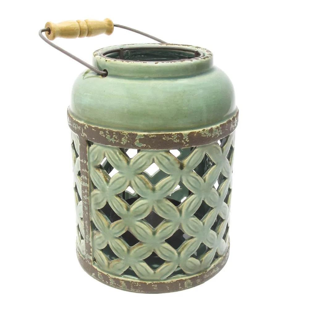 Porta Velas de Cerâmica Vazada Verde 20x15,5cm