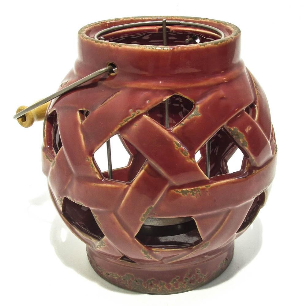 Porta Velas de Cerâmica Vazada Vermelho 19x17cm