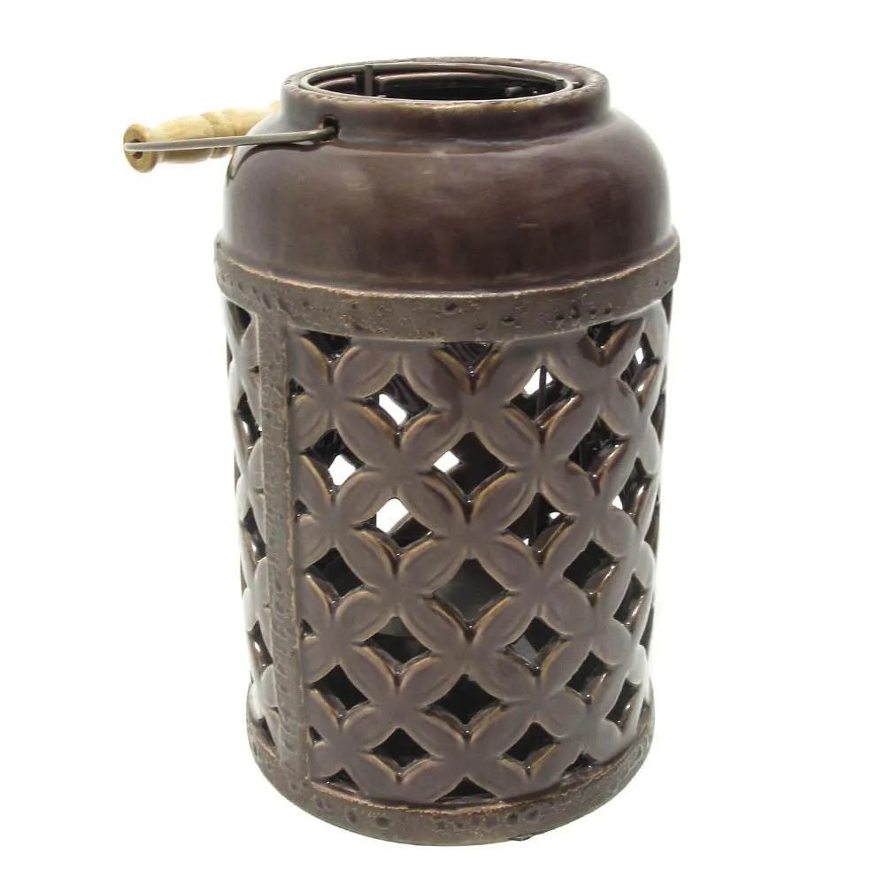Porta Velas de Cerâmica Vazada Vinho 25x16cm