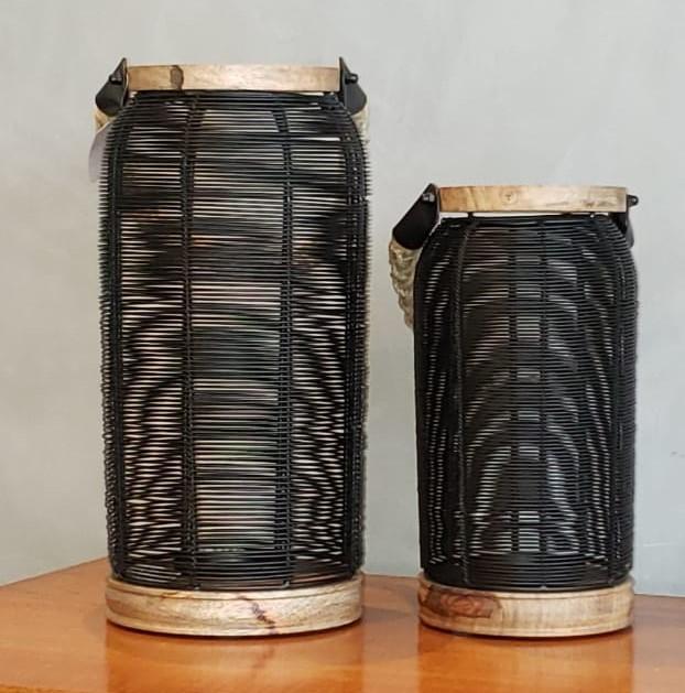 Porta Velas de Metal com Alça de Juta 28x14cm